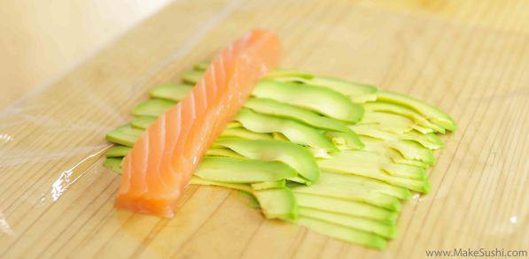 salmon of avocado slices